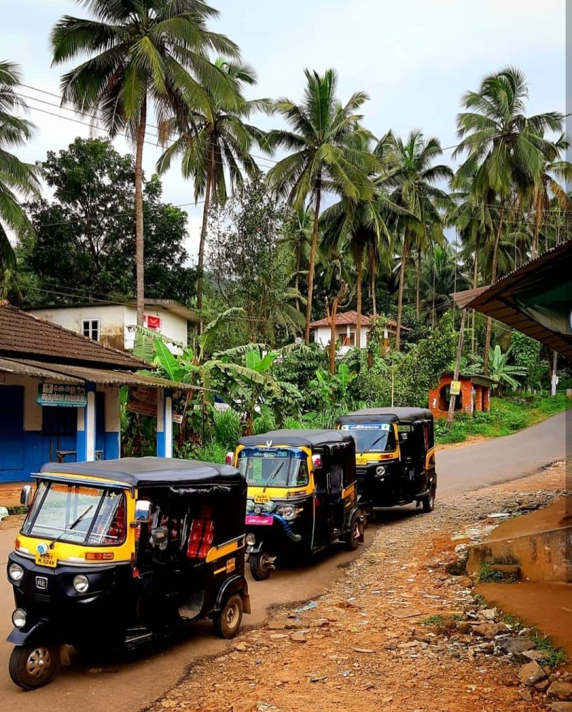 Kerala: three rickshaws lined up